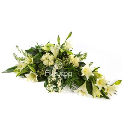 Funeral spray white oval for delivery in the Netherlands