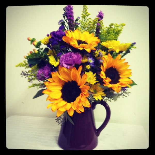 Purple flower arrangements for a gift vtwctr purple and yellow flower arrangements mightylinksfo