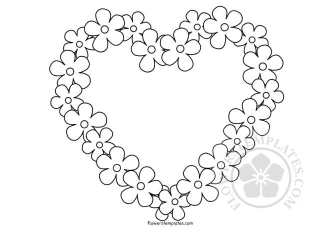 Flower border heart template