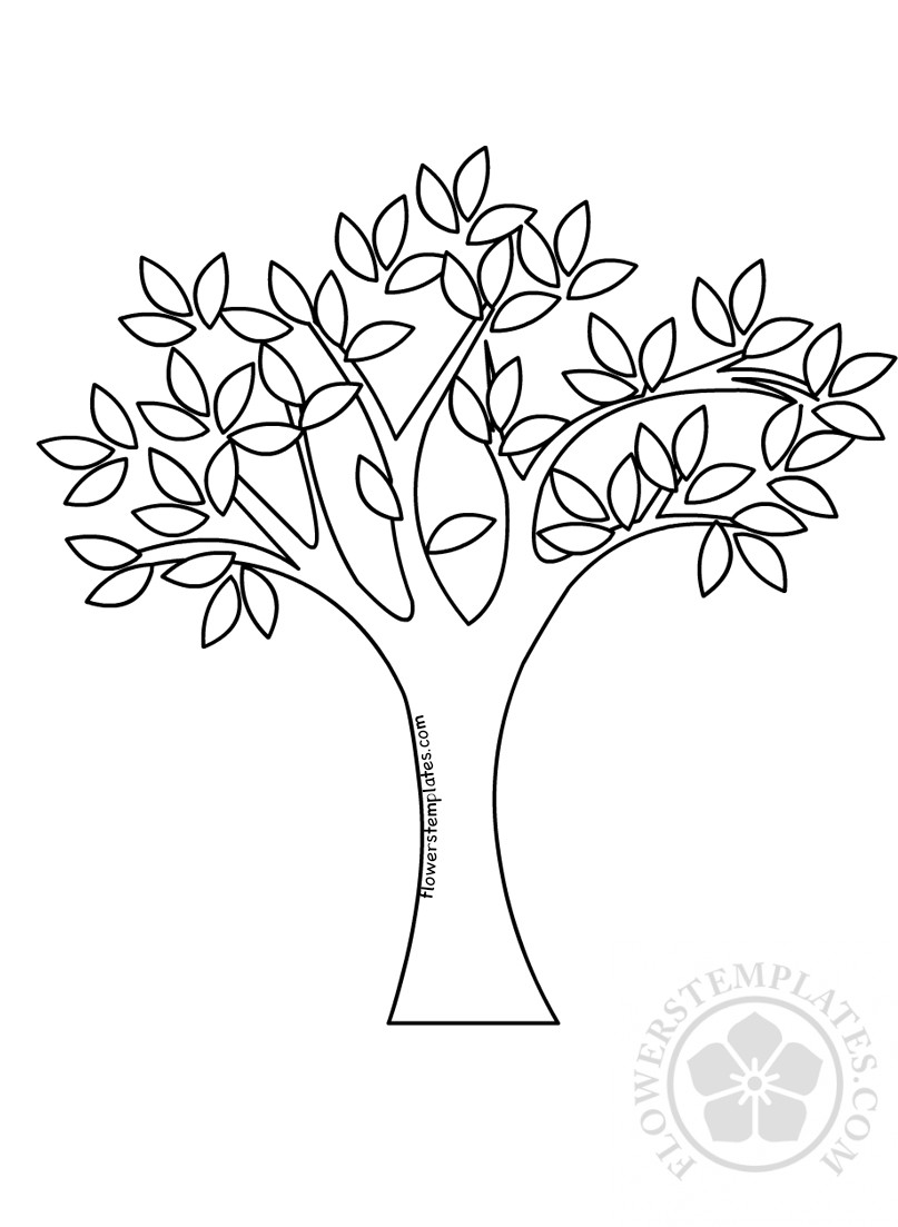 Spring Tree with Green Leaves coloring page | Flowers ...