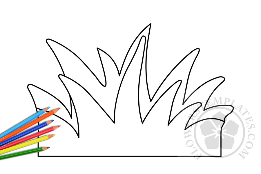Grass Coloring Page Flowers Templates