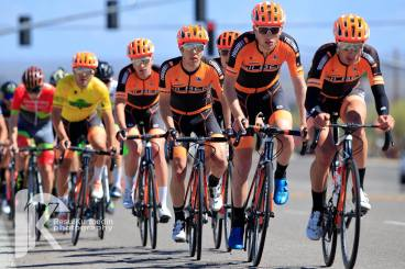 The team rides tempo to defend yellow during Stage 2 of the Tucson Bicycle Classic. ©Resul Kurtbedin Photography