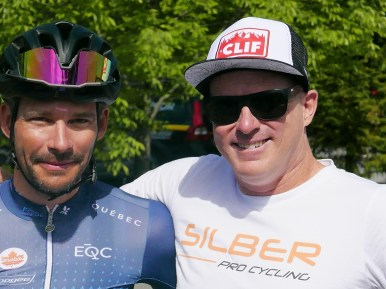 Quebec's Bruno Langlois starting his 20th Tour de Beauce (!) and Gord Fraser who raced in 10 and has directed 10. #racinglife ©Scott McFarlane