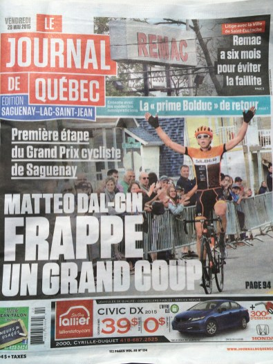 Matteo all over the print media in Saguenay