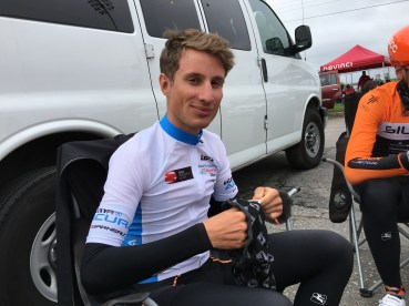 Nicolas Masbourian in Young Rider's jersey at Saguenay ©SilberProCycling