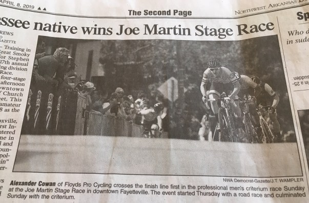Cowan makes p2 of the local newspaper. Courtesy John Elrod