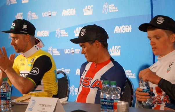 Sagan, McCabe and Stites (Young Rider jersey) post-race press conference