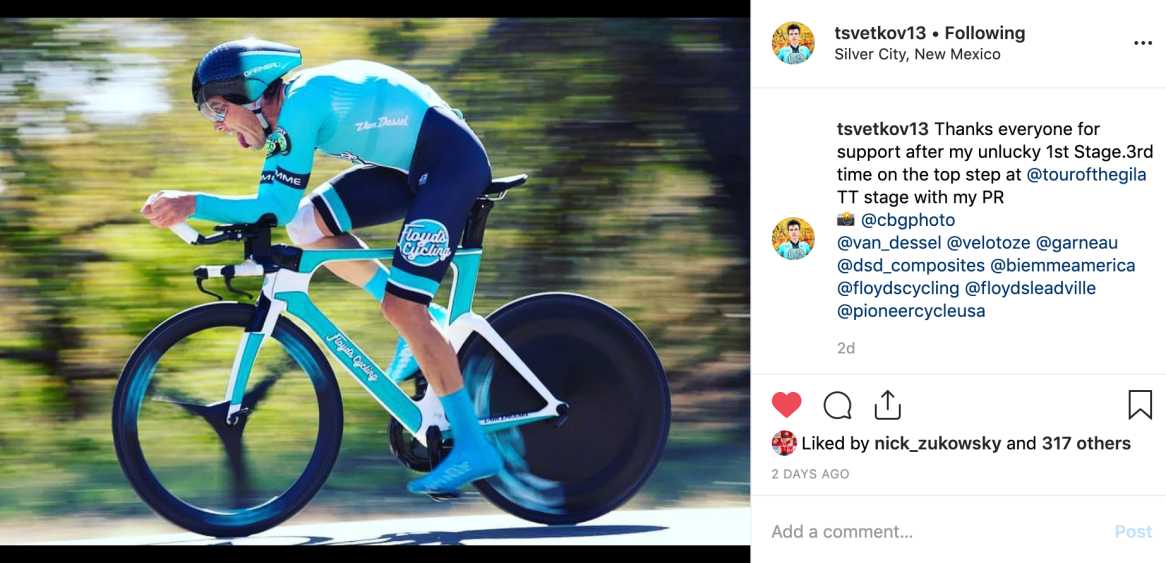 Serghei thanks everyone for support on Instagram after his stage 3 win