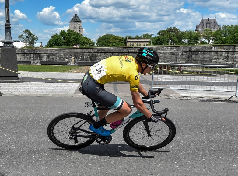 Nick held onto yellow during stage 4's crit which featured the majestic backdrop of Quebec City. © canadiancyclist.com