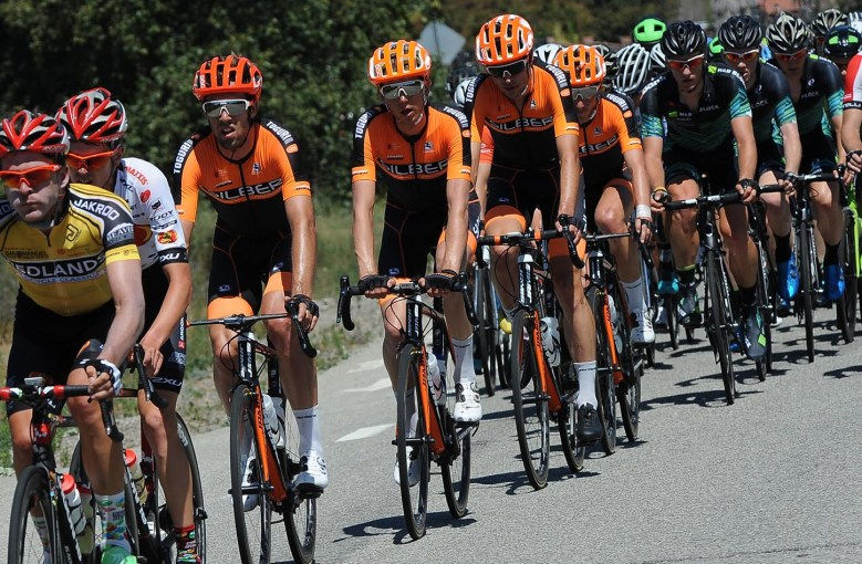 The team protects Nigel heading into the Oak Glen climb. Stage 2