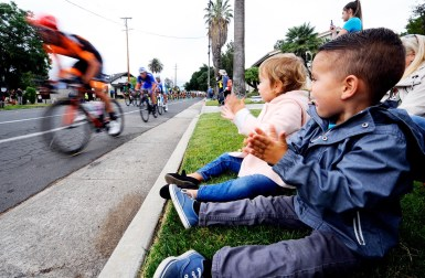 Kids enjoy the action during the downtown criterium. Stage 4