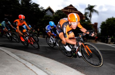 Team captain, Ryan Roth, dives into a corner during stage 4 - criterium