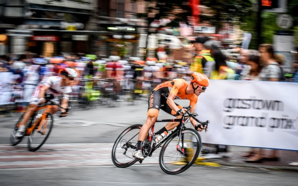 Alex Cataford, Silber Pro Cycling teammate of eventual winner Ryan Roth keeps the heat on during the race.