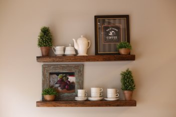Resawn Antique Oak, Dark Walnut Stained Floating Shelves