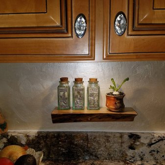 Custom Spice Shelf, Salvaged American elm