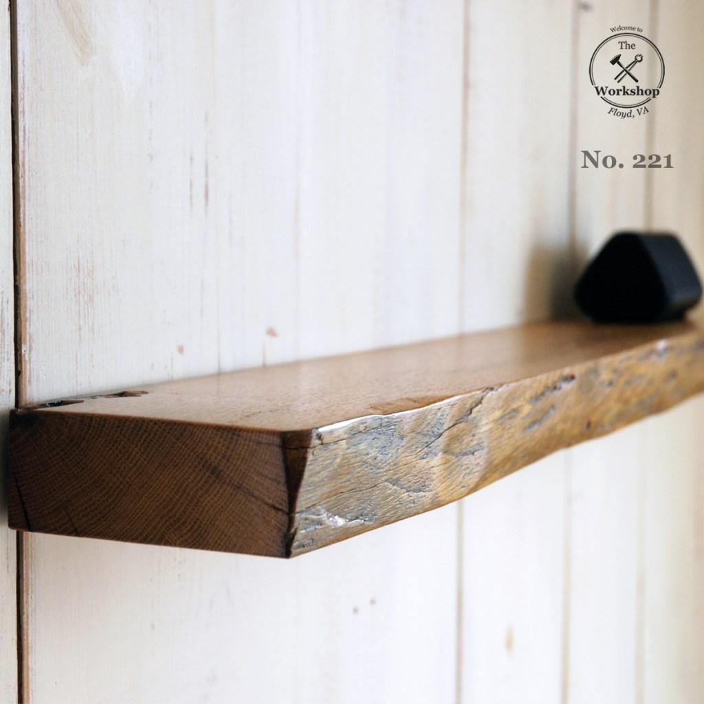"48"" Reclaimed Wood Antique Oak Floating Shelf, Hand-Hewn and Live-Edge (Shelf No. 221)"