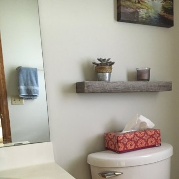 Light Gray + Dark Gray Floating Shelves, installed by Etsy customer