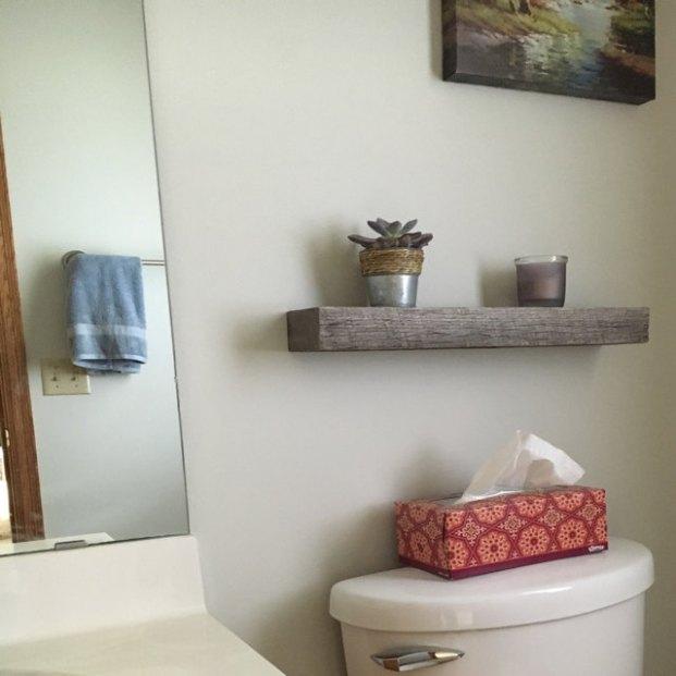 Light Gray + Dark Gray Floating Shelves, installed by Etsy customer