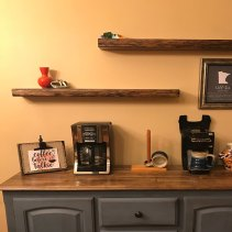 Live Edge Reclaimed Antique Oak Floating Shelves, Dark Walnut Stain, installed by an Etsy Customer