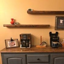 Live Edge Reclaimed Antique Oak Floating Shelves, Dark Walnut Stain, installed by an Etsy Customer