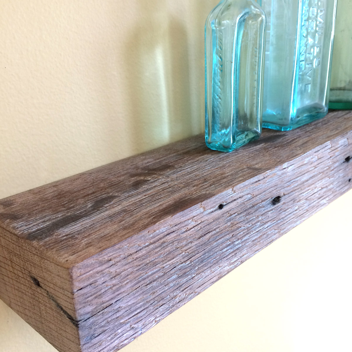 "24"" Chunky Rustic Floating Shelf, Pickled Oak Barn Wood with Dark Iron Stains, Reclaimed Wood 19th century"