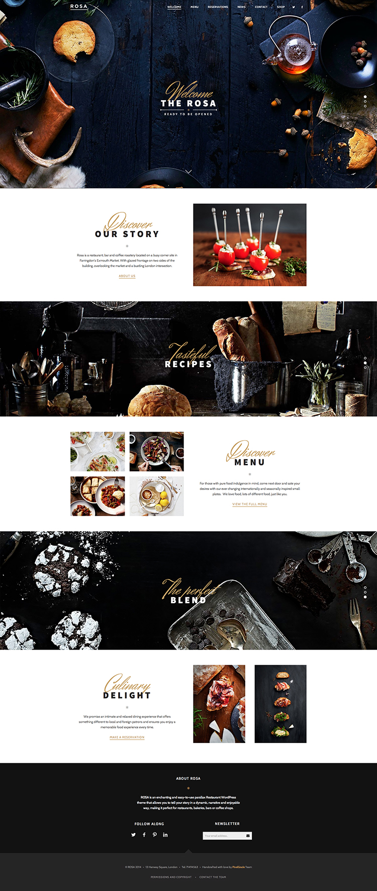 Rosa a restaurant WordPress theme