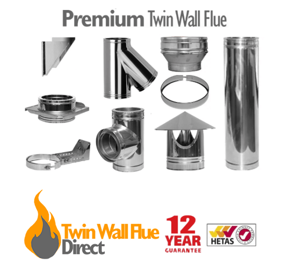 PREMIUM Twin Wall Insulated Flue Pipe Multifuel Wood Stove