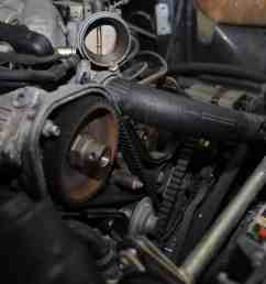 1983 porsche 924 s water pump replacement coolant leak timing belt tension oil 944 tensioner marks pulley old worn [ 2144 x 1424 Pixel ]