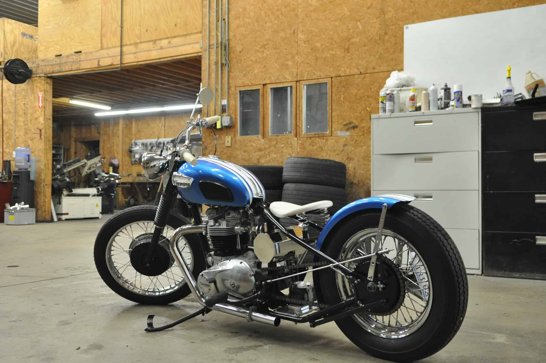 1968 Triumph Bonneville Motorcycle Fabrication kickstand bobber