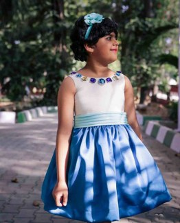 White and blue dress for little girls