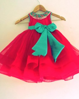baby dress in red with green bow