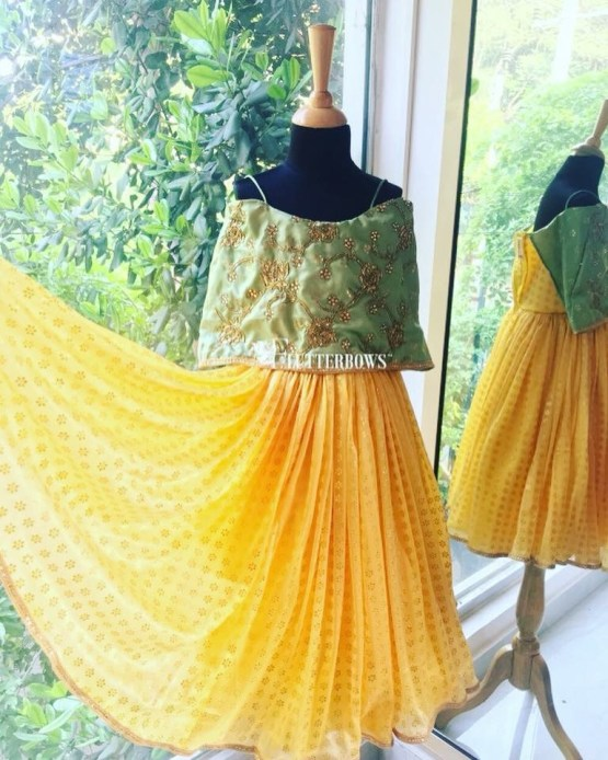 A green and yellow contemporary indian party wear dress