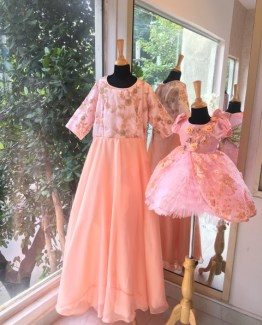 Mom and Me Peach Love Girl Dress