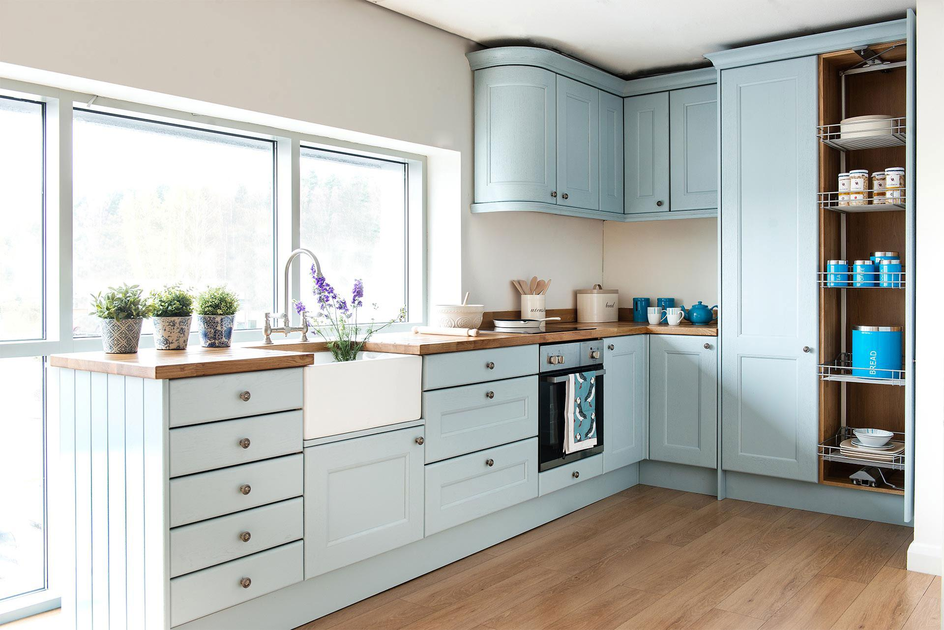 Contemporary White Oak Kitchen Cabinets And Wall Color