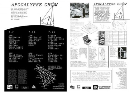 """Two pages of typewriter text litters the entire page; geometric shapes, diagram of a hand and a photo of a person tending to a circular solar panel are scattered throughout the pages. The words """"APOCALYPSE CHOW"""" are on top of the pages."""