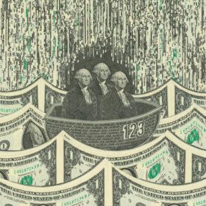 Three dollar bill Washingtons sit in a boat, floating on a sea of dollar bill waves.