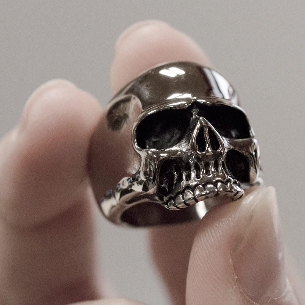 Edelstahl Totenkopf Ring Keith Richards silber biker skull gothic rock klassisch  eBay