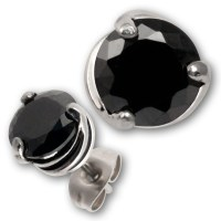 Stainless Steel Gothic Earrings with Black Cubic Zirconia ...