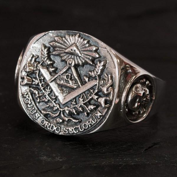 Silver Freemason Signet Ring Knights Templar Cross