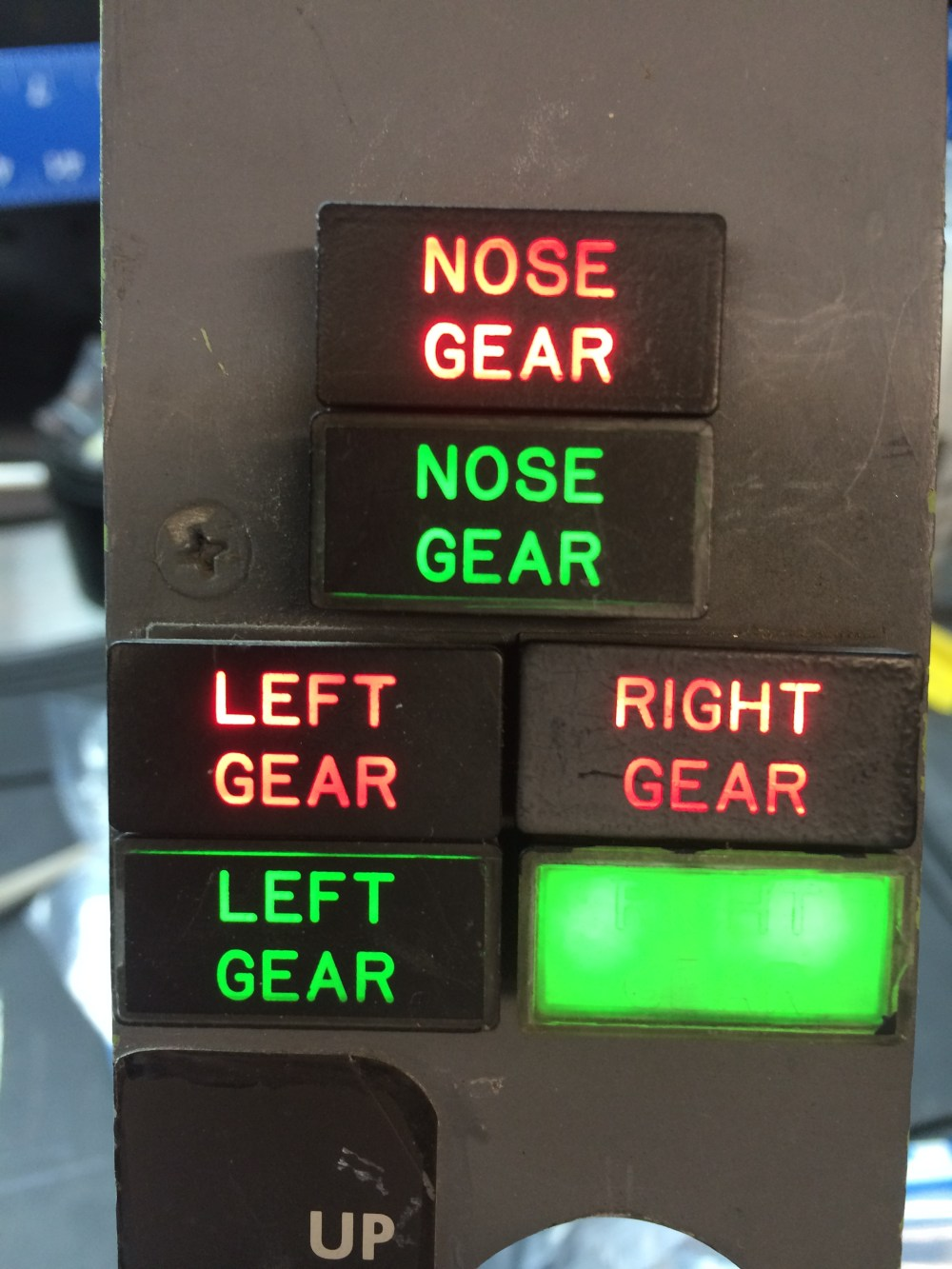 medium resolution of red lights indicate gear in transit or abnormal condition green lights indicate gear down and