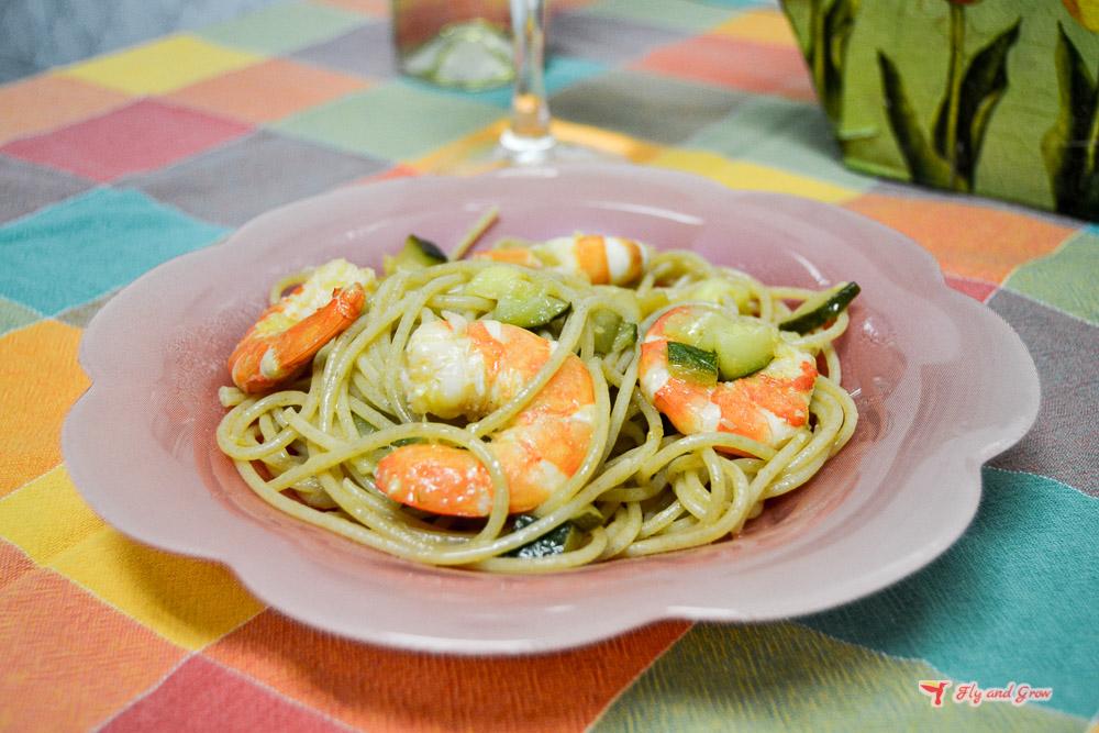 receta italiana espaguetis con gambas
