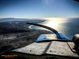Flying south over Ventura, California
