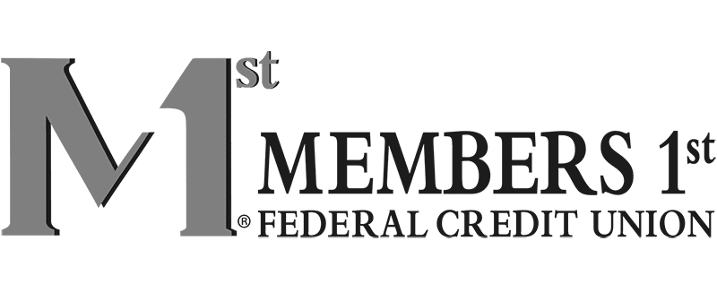 Members 1st Federal Credit Union logo grayscale