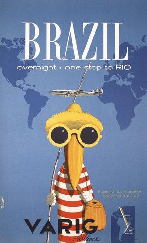 Varig Airlines Travel Poster Brazil
