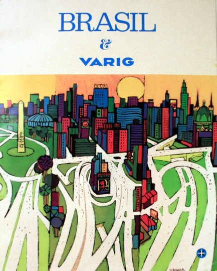 Varig Airlines Travel Poster Sao Paulo