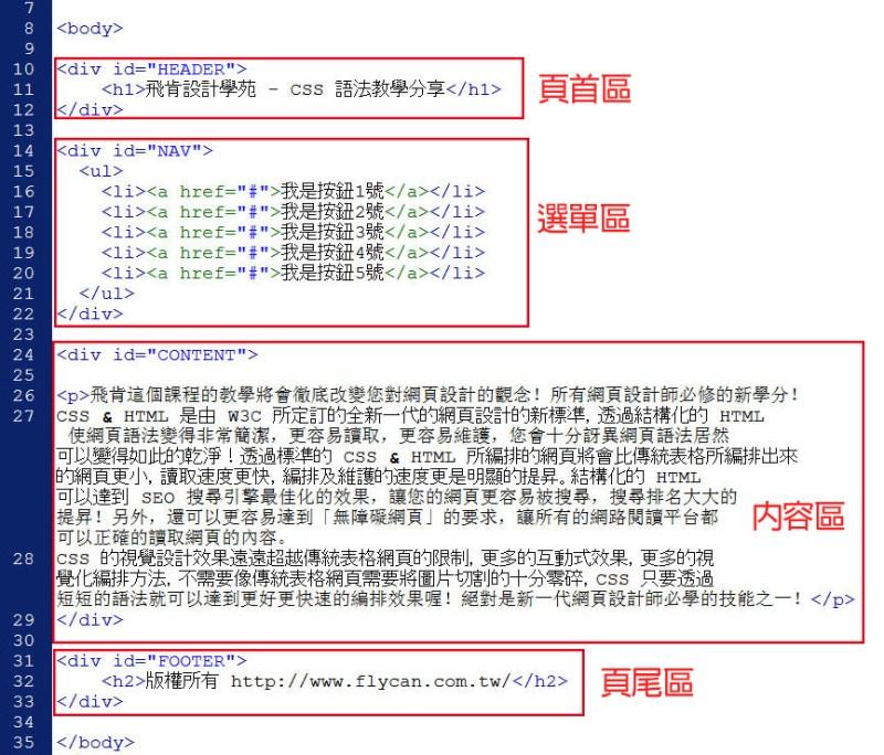 CSS 教學 - 網頁排版  - CSS 排版教學 – 單欄式網頁版型設計 - text-000-html1