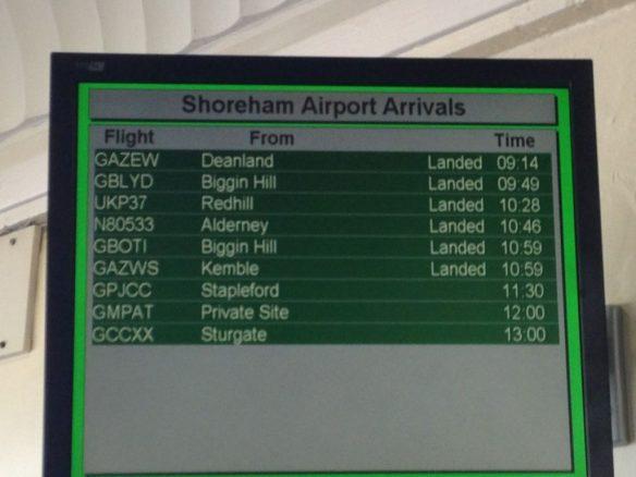 Shoreham Airport Arrival Board