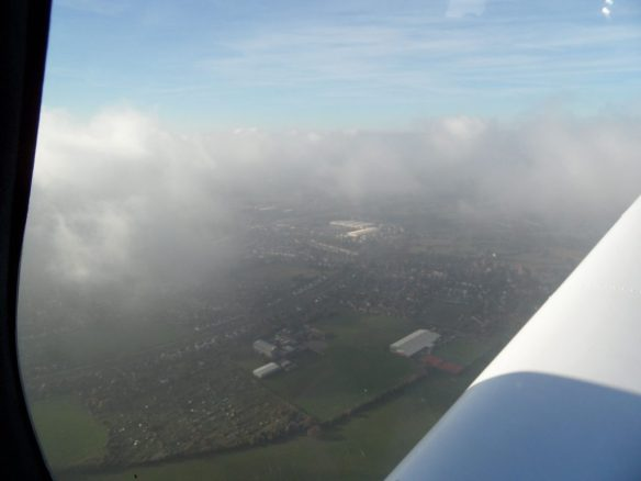 Getting above the clouds after departure