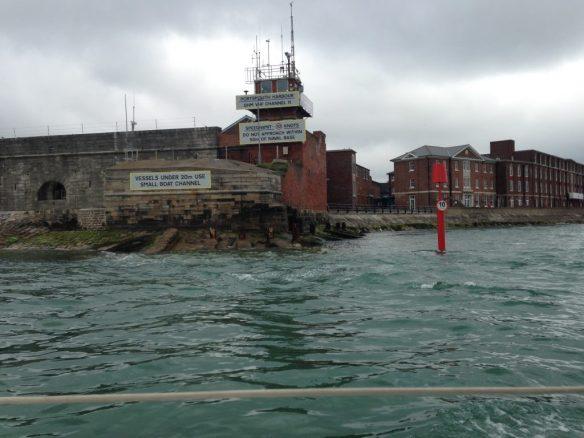 Motoring out Portsmouth Harbour Entrance