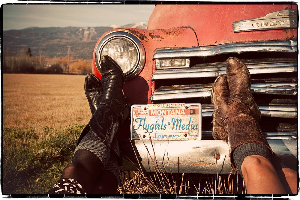 FlyGirls Media - montana boots next to vintage red truck